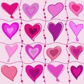 Conjunto de corazones de la historieta — Vector de stock