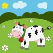 Landscape with funny cow — Stock Vector