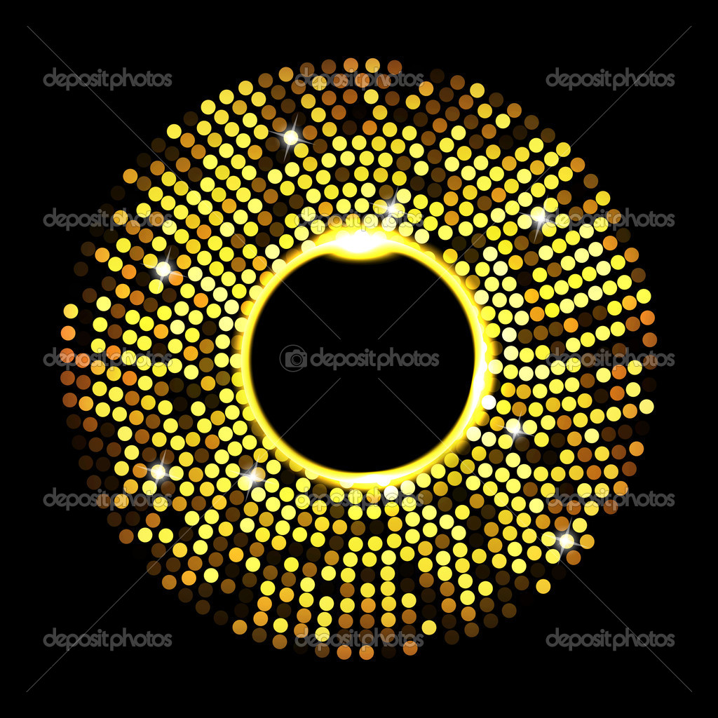 Abstract golden dots on black background. Vector eps10 illustration — Stock Vector #5241787