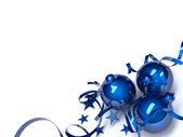Blue Christmas toys — Stock Photo
