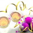 Christmas decorations and glasses with champagne — Foto Stock