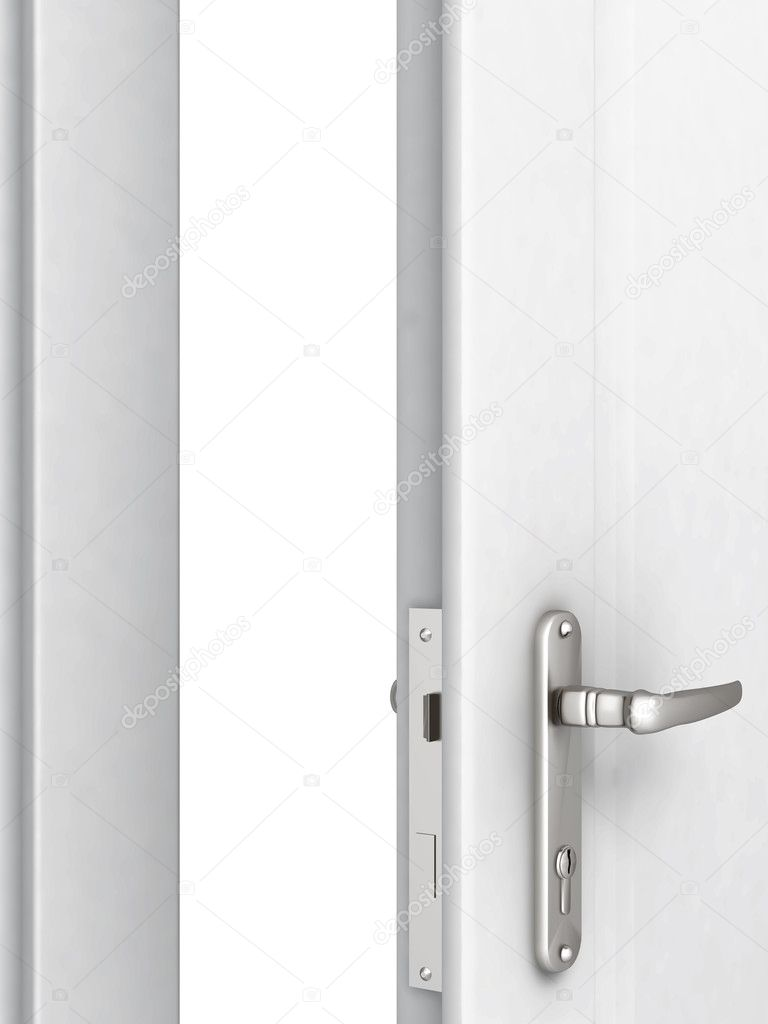 Opened door with a modern locking mechanism on a white background — Stock Photo #4341227