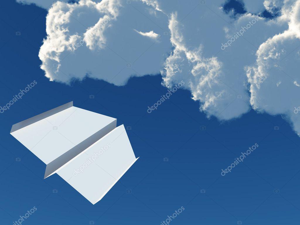 背景蓝色天空和云层的纸飞机