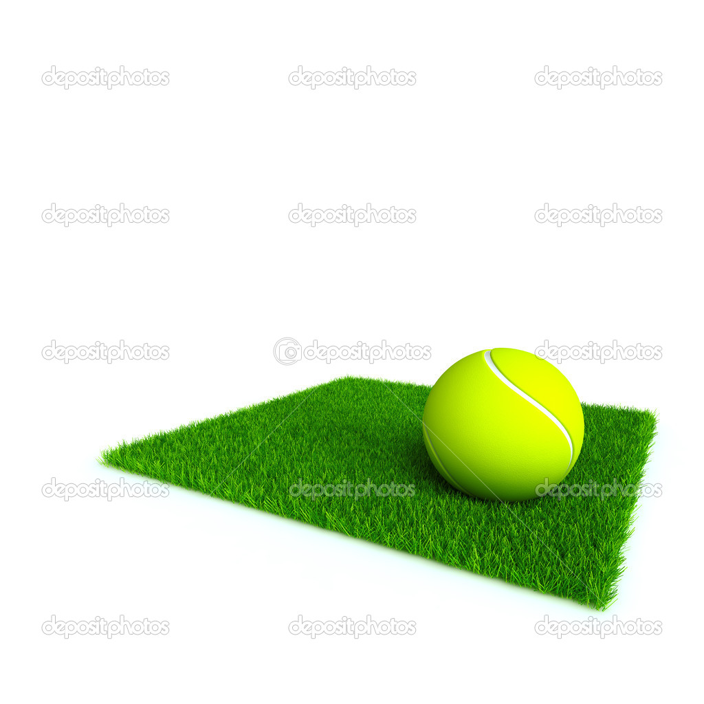 Tennis ball on a lawn from a green bright grass on a white background — Stock Photo #4341363