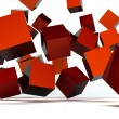 Falling and hitting red cubes — Stock Photo
