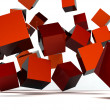 Stock Photo: Falling and hitting red cubes