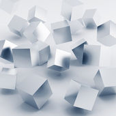 Falling and hitting silver cubes — Stock Photo