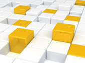 White and orange plastic cubes — Stock Photo