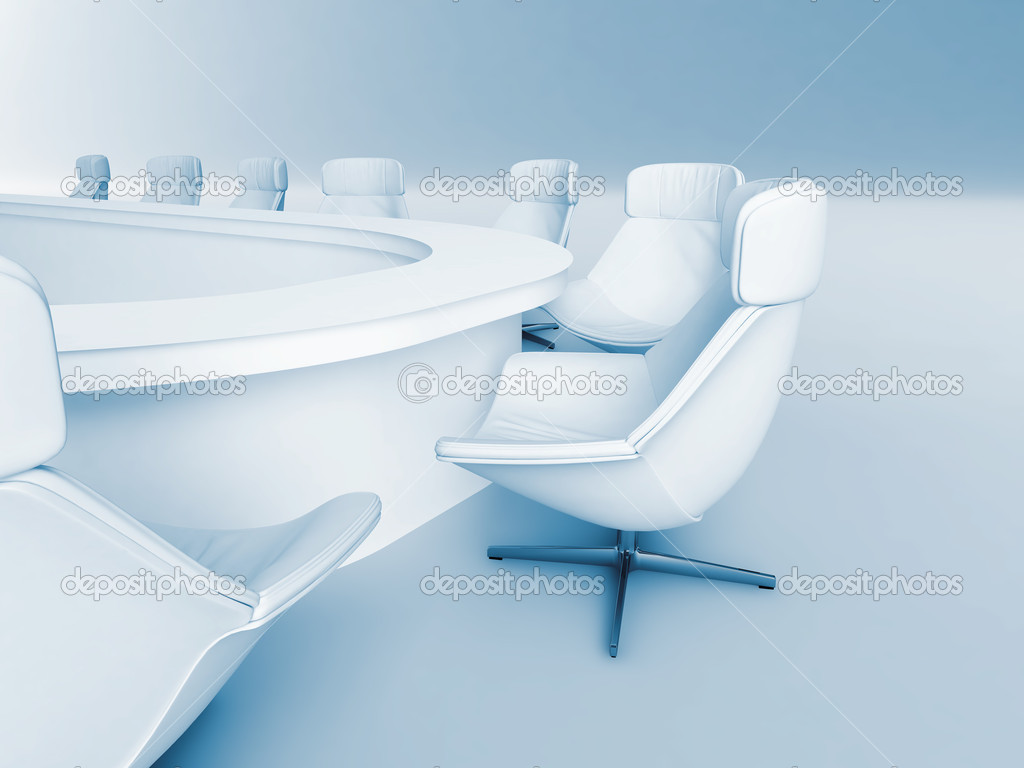 Rounded table is surrounded white leather chairs in a light room  Stock Photo #4944853