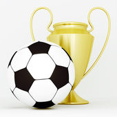 Gold cup and soccer ball — Stockfoto