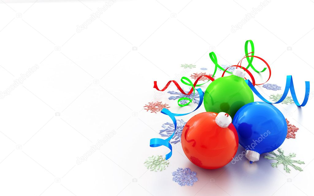 Christmas decorations of different colors on a white background — Stock Photo #5131261