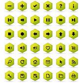 Conjunto de botones de nido de abeja — Vector de stock