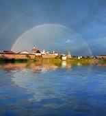 Rainbow over the Monastery. — Stock Photo