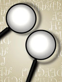 Decorative border with magnifying glass — Stock Photo