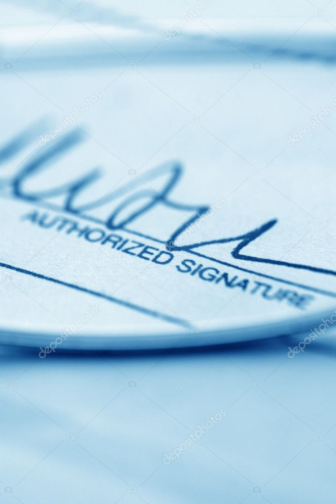 Close up of Signature with document — Stock Photo #3972443