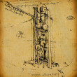 Leonardo's Da Vinci engineering & Anatomy  drawing — Stock Photo