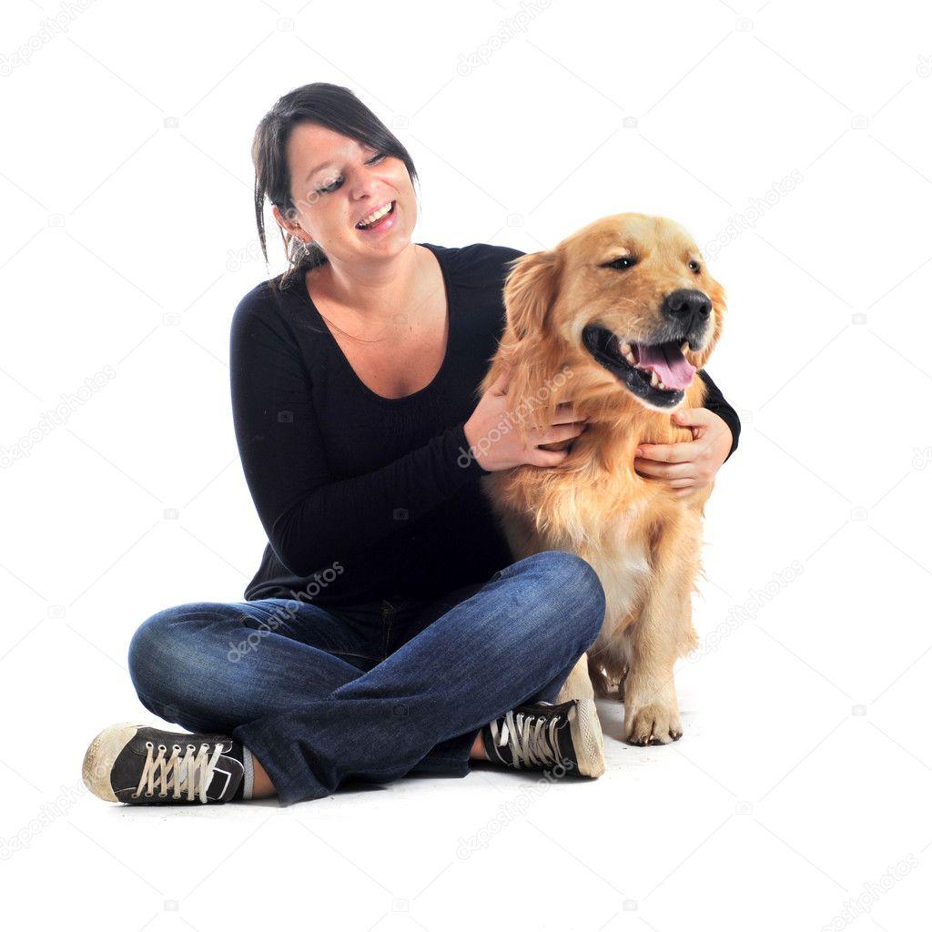 Девушка и ретривер фото