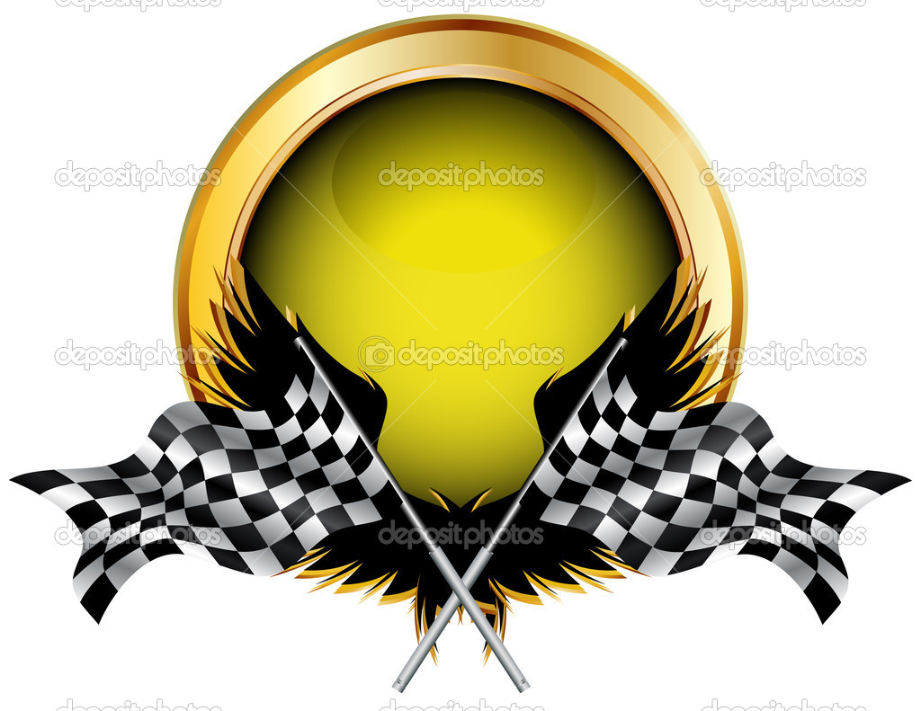 Racing flags and golden button for your text, vector illustration — Stock Vector #4123533