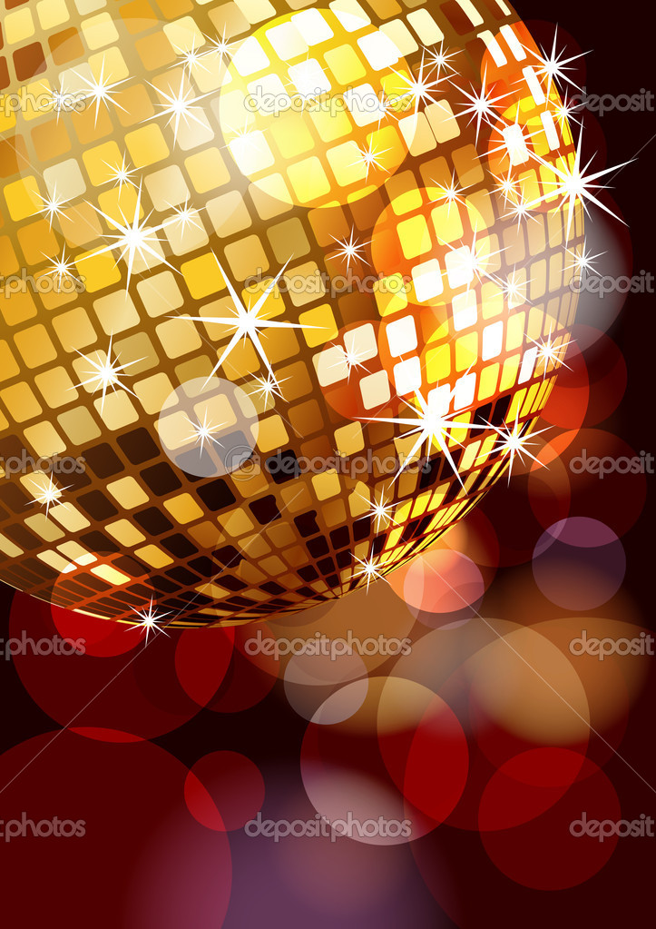 Golden disco ball corner, eps10 vector illustration — Stock Vector #4330268
