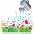 Stock Vector: Watering can and valentine flowers