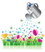 Watering can and valentine flowers — Stock Vector