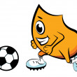 Blinky playing soccer - Stock Vector