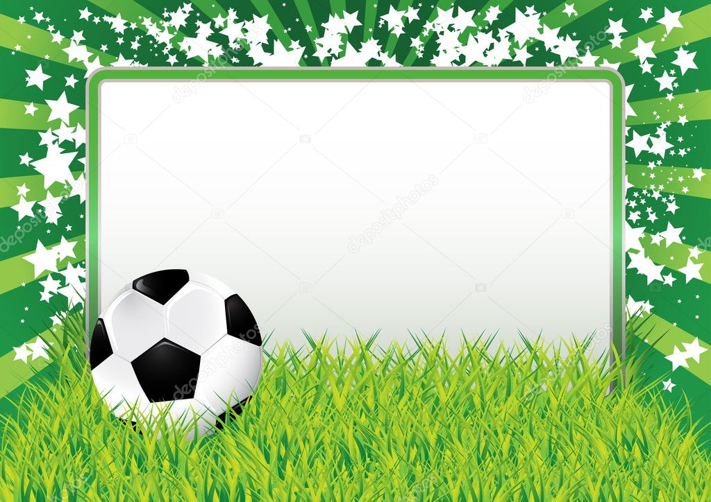 Green background with soccer ball and blank banner, vector illustration — Stock Vector #5115992