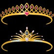 Two golden tiaras - Stock Vector