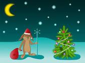 Christmas tree and rabbit — Stock Vector