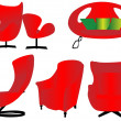 Isolated red furniture set — Stock Vector