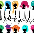 Stock Vector: Hair symbols