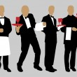 Silhouettes waiter — Stock Vector