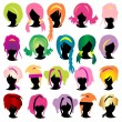 Stock Vector: Silhouettes wig set