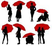 Ung kvinna med paraply — Stockvektor