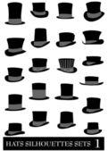 Vetor de chapéu de moda silhuetas — Vetor de Stock