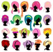 Silhouettes wig set — Stock Vector
