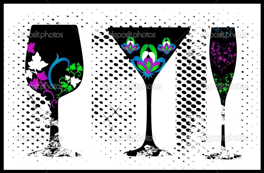 Collection of black glass with flower   Stock Vector #5368174