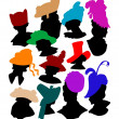 Set of woman hats — Stock Vector