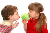 Childrens eat cabbage on a white background — Stock Photo