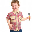 Royalty-Free Stock Photo: The little boy with a wrench on the white