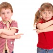 The girl and the boy specify a way — Stock Photo