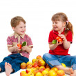 The girl and the boy with fruit and vegetables — Stock Photo