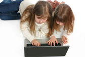 Girls with the laptop on a white background — Foto de Stock