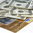Money - USD banknotes and cards — Stock Photo