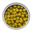 Tinned green peas — Stockfoto