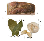 Fat and leaves laurel and black pepper — Stock Photo