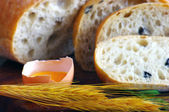 Close-up on traditional bread with olive. Shallow DOF — Stock Photo