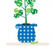 Indoor Money Tree — Stock Vector
