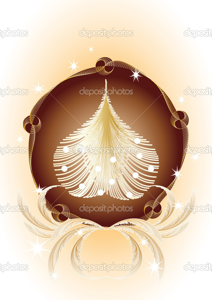 Christmas tree in vintage frame — Stock Vector #4090869
