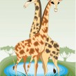 Stock Vector: A pair of young giraffes